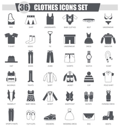 Clothes black icon set dark grey classic vector