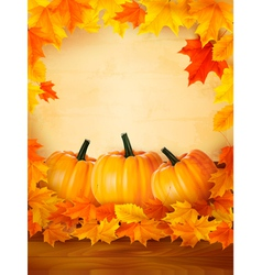 Background with three pumpkins and old paper vector