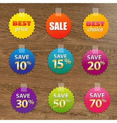 Big colorful sale tags vector