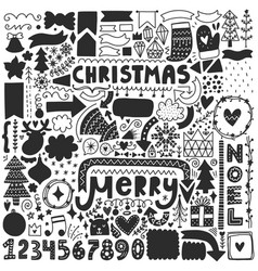 Black christmas doodles vector