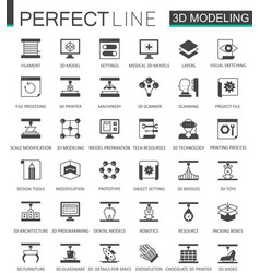 black classic 3d modeling and printing web icons vector image vector image