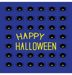 Black spiders happy halloween card vector