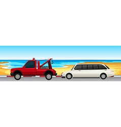 Car and truck parked on the road vector image
