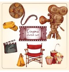 Cinema colored sketch set vector image vector image