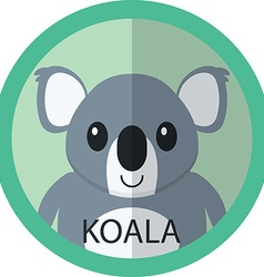 Cute Coala bear cartoon flat icon avatar round vector image