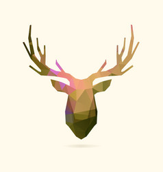 deer portrait color poly vector image vector image