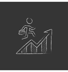 Financial recovery drawn in chalk icon vector