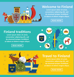 Finland travel banner horizontal set flat style vector
