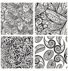Four seamless monochrome patterns clipping masks vector