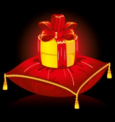 gift on pillow vector image vector image