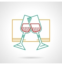 Glasses with wine thin color icon vector image vector image