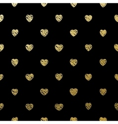 Gold seamless hearts on black eps 10 vector