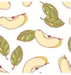 Hand drawn seamless pattern with apple vector