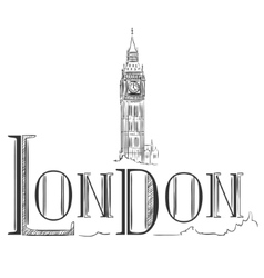 Hand drawn with Big Ben London vector image vector image