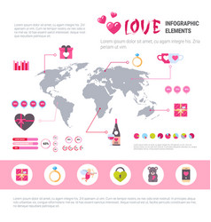 love banner infographic set of template icons over vector image vector image