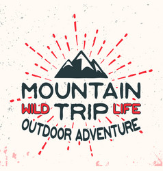 mountain outdoor adventure vintage stamp vector image