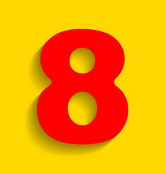 Number 8 sign design template element red vector
