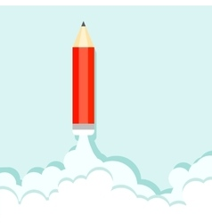 Pencil on the background of clouds and blue sky vector image vector image