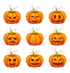 pumpkin with funny faces halloween cartoon vector image vector image