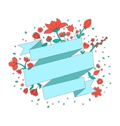 Red flowers ribbon frame for text placeholder vector