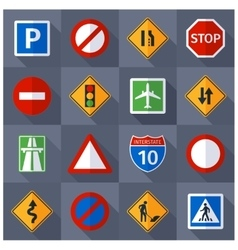 Road traffic signs flat icons set vector image vector image