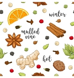 Seamless pattern on white with mulled wine vector