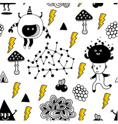 Seamless pattern with strange creatures and vector
