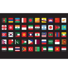 set of Asian flags icons vector image