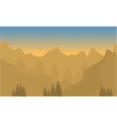 Silhouette of highlands with brown background vector