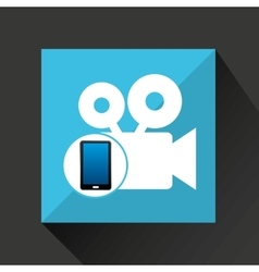 smartphone movie social network media icon vector image