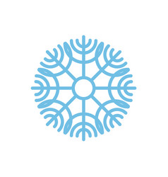 Snowflake isolated blue snow on white background vector