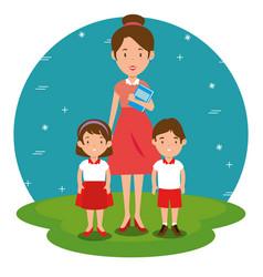 teacher with student cartoon vector image vector image