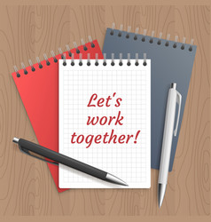 Text lets work together vector
