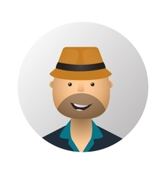 Tourist man in hat and sunglasses flat style icon vector