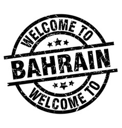 Welcome to bahrain black stamp vector