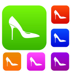 Women shoe with high heels set collection vector