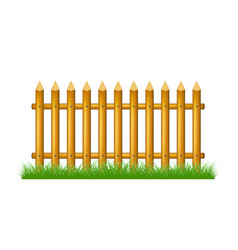 Wooden fence standing in grass vector