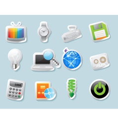 Sticker icons for technology and devices vector