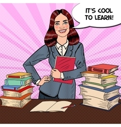 Pop Art Young Happy Woman with Books vector image