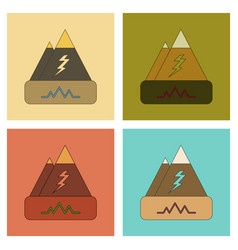 assembly flat icons natural disaster earthquake vector image