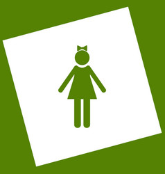 Girl sign   white icon vector