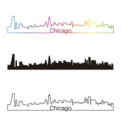 Chicago skyline linear style with rainbow vector