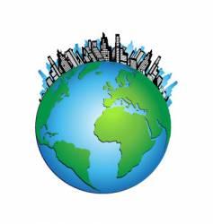 globe cityscape vector image