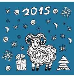 Set new year symbol 2015 sheep spruce snowflakes vector