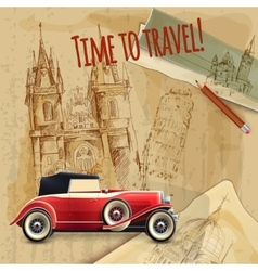 Europe travel car vintage poster vector