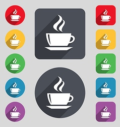 Tea coffee icon sign a set of 12 colored buttons vector