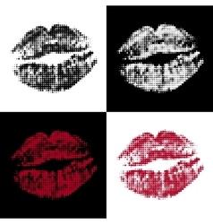 halftone lips vector image