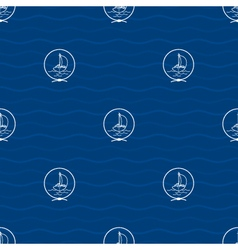 Seamless pattern with yacht vector