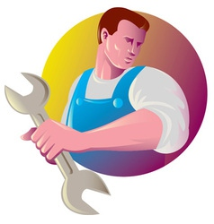 Mechanic tradesman worker spanner vector