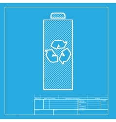 Battery recycle sign  white section vector